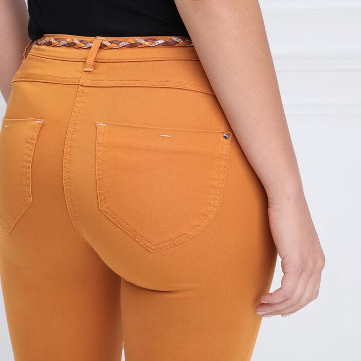 Pantalon ajusté taille basculée jaune moutarde femme