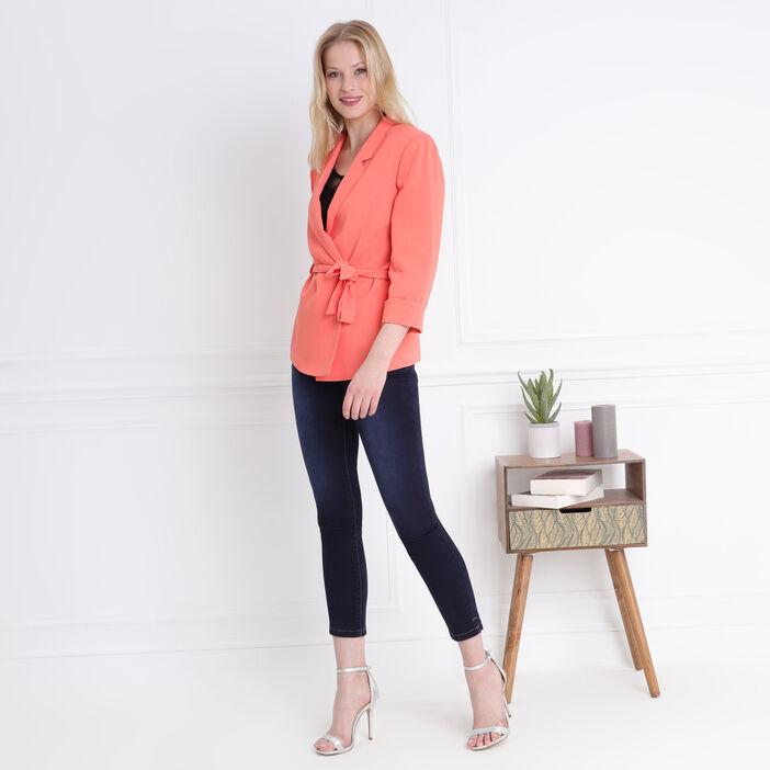 Veste fluide ceinturée orange corail femme