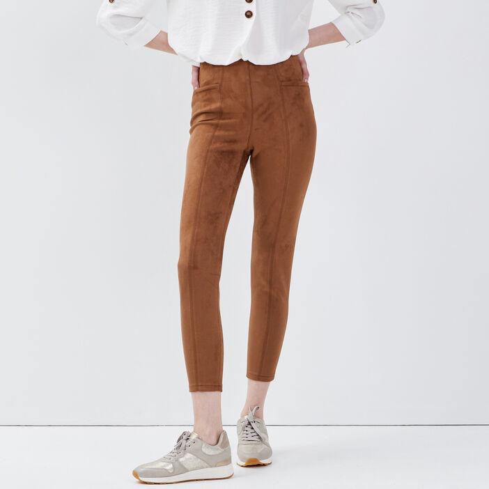 Tregging taille haute marron femme