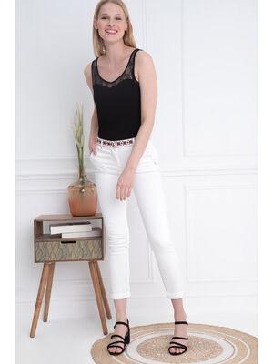 Pantalon ajuste taille haute creme femme