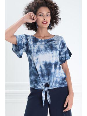 T shirt manches courtes noue bleu femme