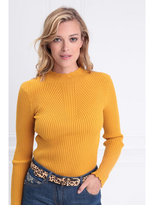 Pull manches longues festonne jaune or femme