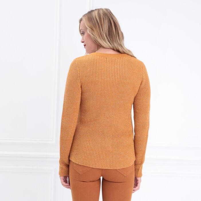 Pull fantaisie à épaules boutonnées jaune moutarde femme