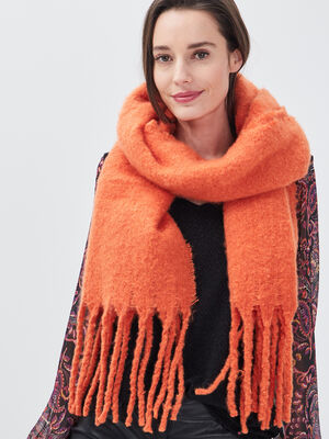 charpe a franges orange clair femme