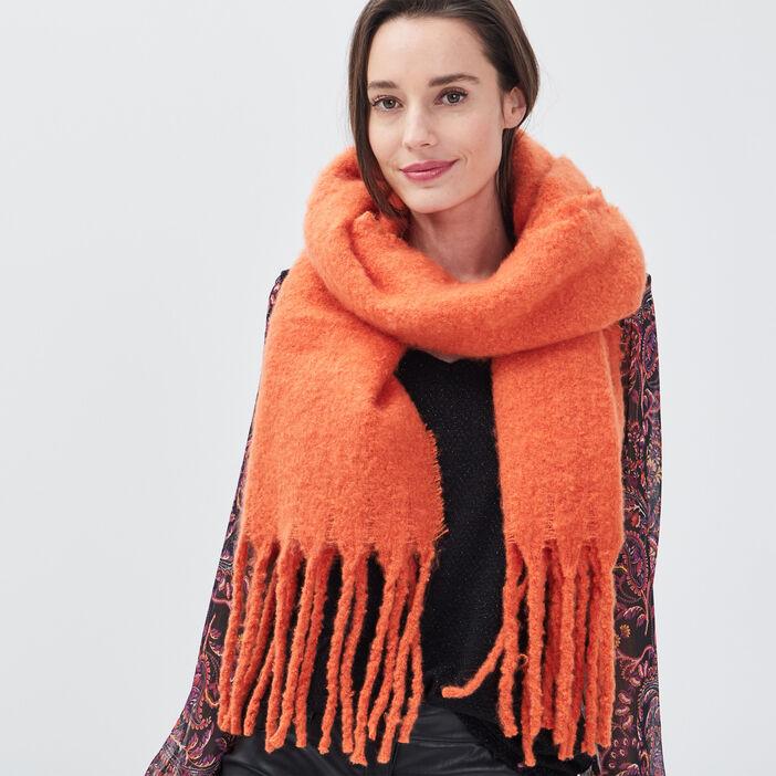 Écharpe à franges orange clair femme