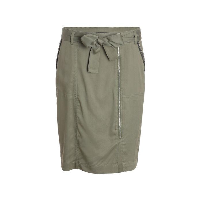 Jupe droite midi zippée vert kaki femme