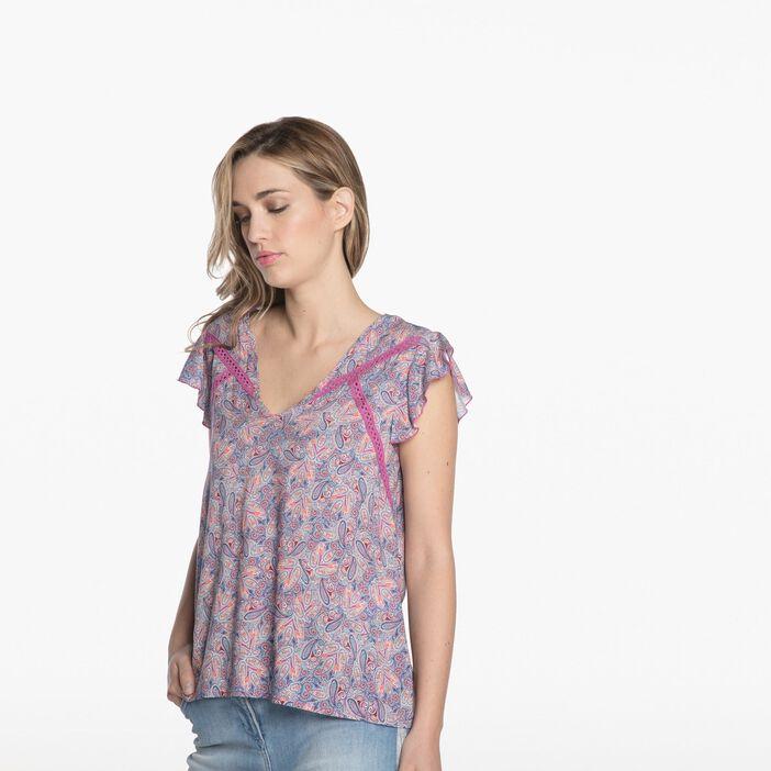 Chemise manches courtes imprimée rose pastel femme