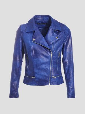 Veste esprit motard zippee bleu electrique femme