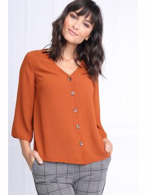 Chemise manches 34 col en V marron femme
