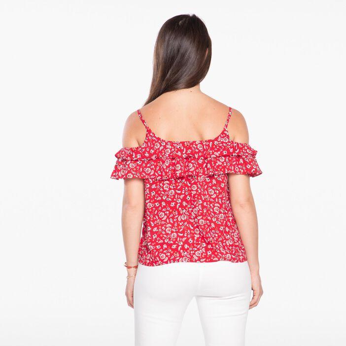 Chemise manches courtes imprimée rouge femme