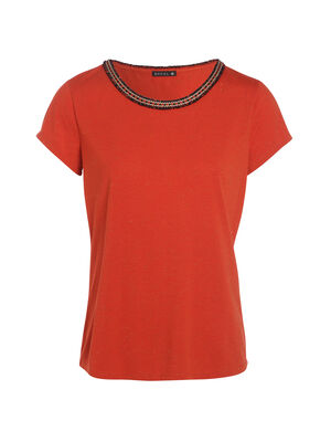 Tee shirt manches courtes angel hair rouge corail femme