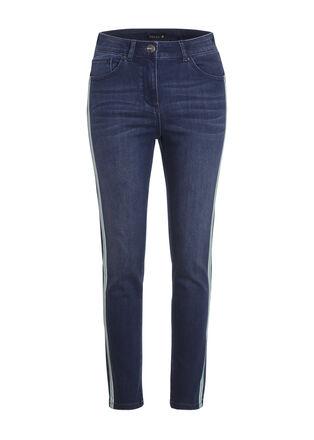 Jeans taille haute bande cote denim stone femme