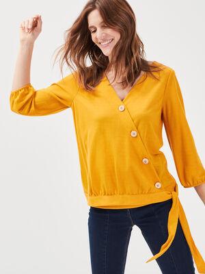T shirt manches 34 jaune or femme