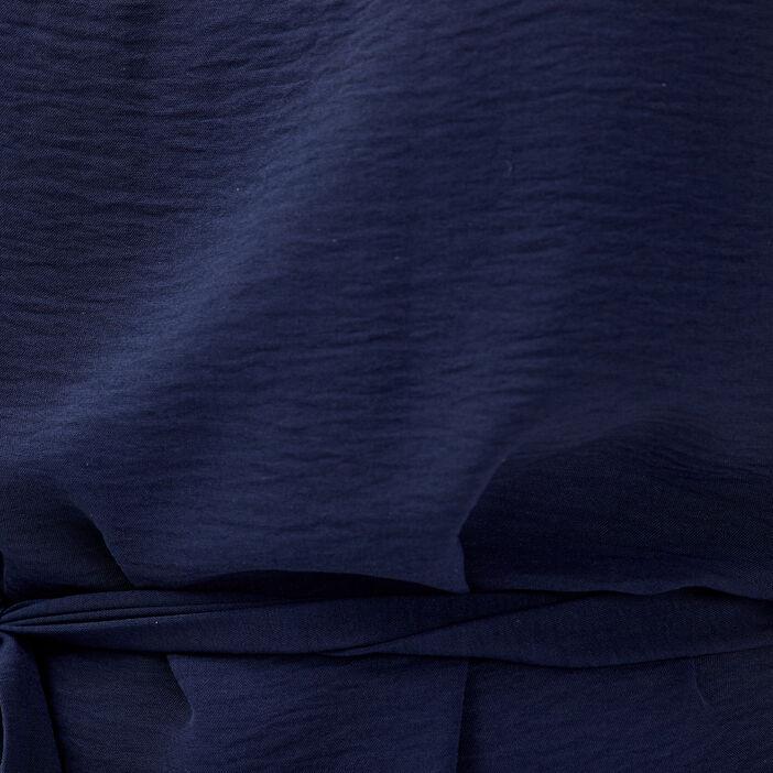 Robe droite ceinturée bleu marine femme