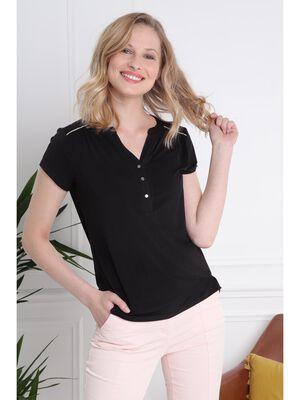 T shirt manches courtes detail col noir femme
