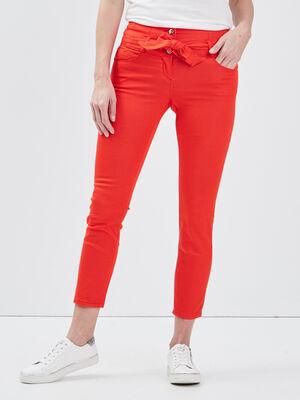 Pantalon ajuste ceinture rouge femme