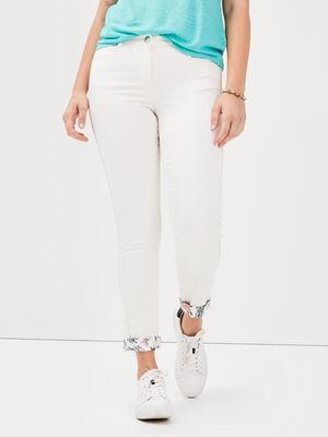 Pantalon ajuste ecru femme
