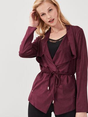 Veste droite suedine violet fonce femme