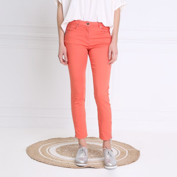Pantalon 7/8 satin orange corail femme