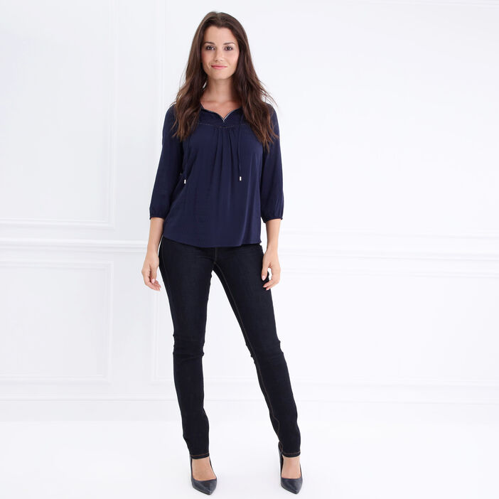 Chemise col tunisien détails galons bleu foncé femme