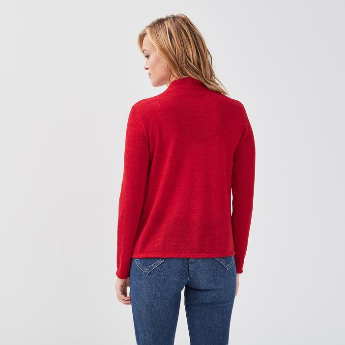 Gilet court manches longues rouge femme