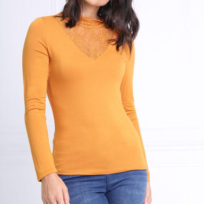 t shirt femme jaune moutarde