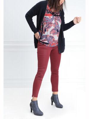 Pantalon ajuste enduit rouge fonce femme