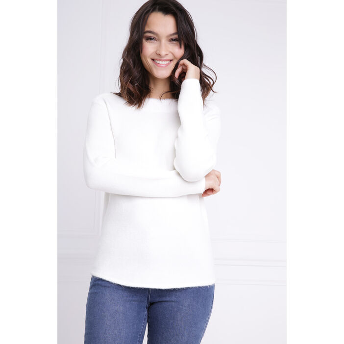 Pull col rond maille shaggy ecru femme