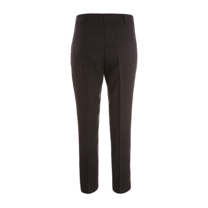 Pantalon bande léopard côté noir femme