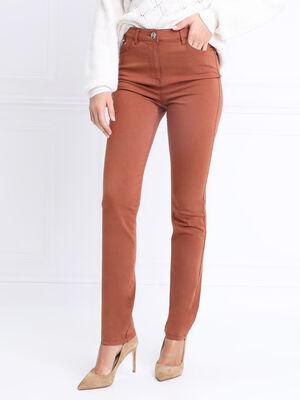 Pantalon ajuste details zip marron cognac femme