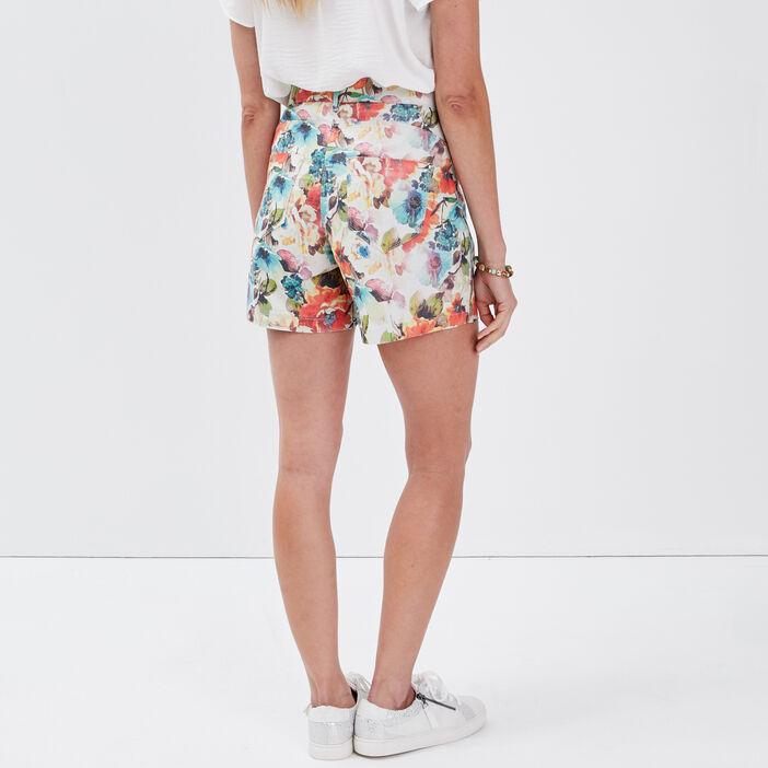 Short droit taille standard ecru femme