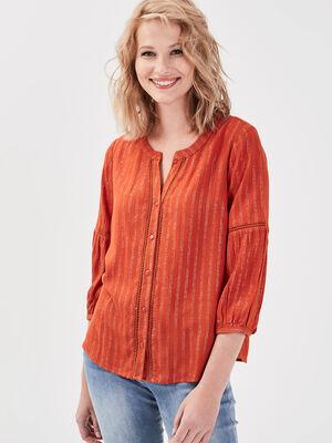 Chemise manches 34 orange fonce femme