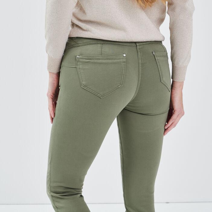 Pantalon ajusté taille standard vert kaki femme