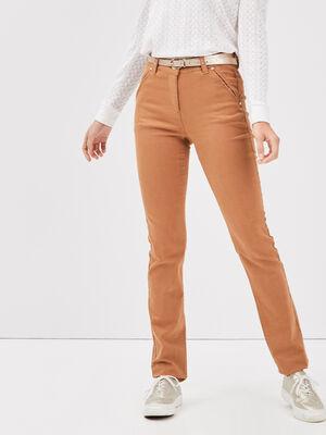Pantalon ajuste a ceinture marron clair femme