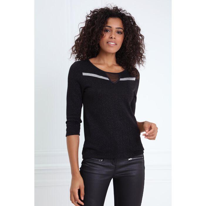 T-shirt à découpe triangle noir femme