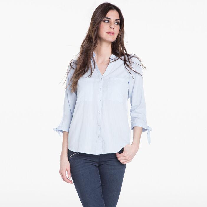 Chemise avec noeud aux manches bleu gris femme
