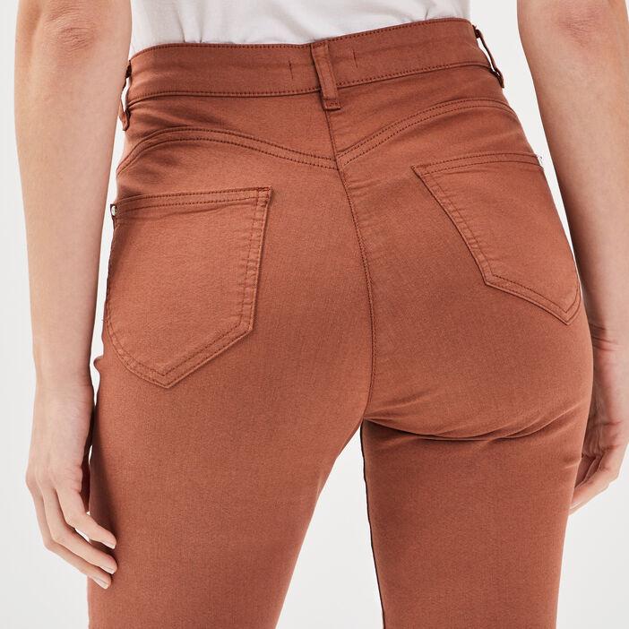 Pantalon léger toucher doux marron cognac femme