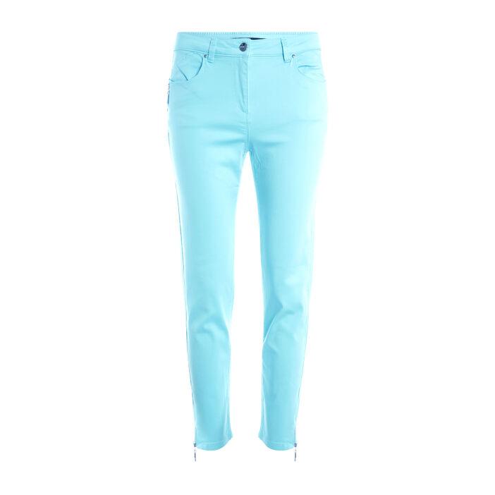 Pantalon 7/8 satin vert émeraude femme