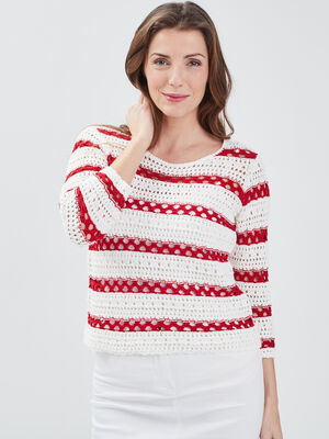 Pull manches 34 ajoure rouge femme