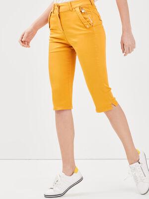 Pantacourt ajuste taille haute jaune or femme