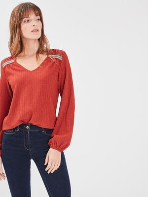 T shirt manches longues orange fonce femme