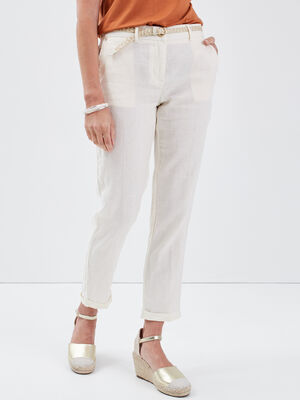 Pantalon chino taille basculee ecru femme