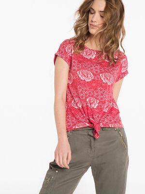 T shirt fleuri rouge fluo femme