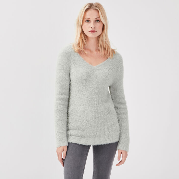 Pull manches longues vert pastel femme