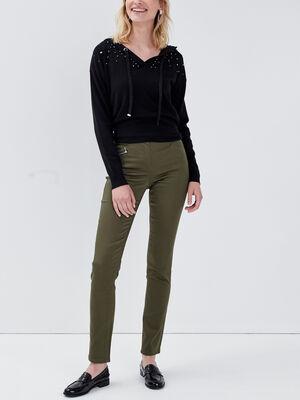 Pantalon ajuste vert kaki femme