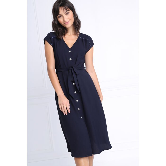Robe cintrée col V bleu marine femme