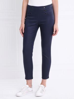 Pantalon ajuste a ponts taille basculee bleu fonce femme