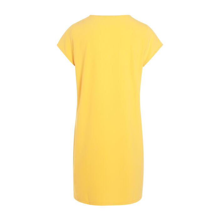 Robe droite manches courtes orange clair femme