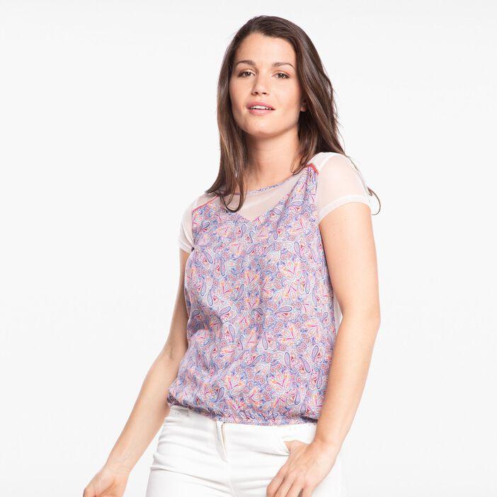 T-shirt col rond imprimé cachemire rose pastel femme