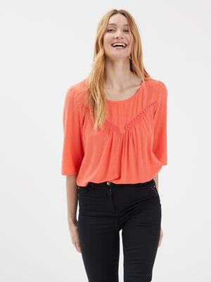 Blouse manches 34 orange corail femme